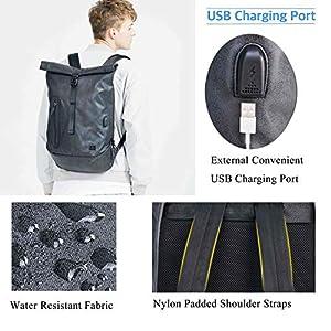 51wV4Cj8YQL. SS300  - BAIGIO Mochila Antirrobo Impermeable USB Mochila Portatil 15.6/14 Pulgadas Hombre Bolso de Viaje Trabajo Rolltop Backpack, Gris