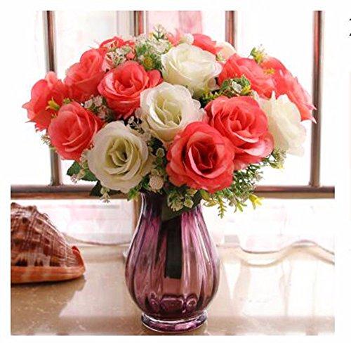 Mesmj Künstliche Blumen Creative Wedding Bouquets eingerichtet Esstisch, Weiß Orange Rose Lila getönte Glas Vase