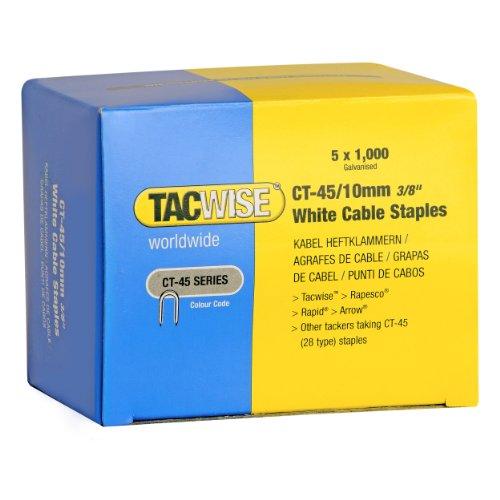 Tacwise 0353 Grapas cables color blanca puntas divergentes