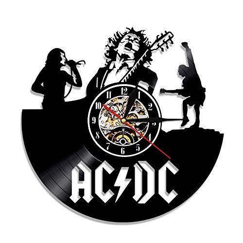mebeaty Vinyl-Schallplatte Wand Uhr Pop-Sängerin ACDC U-Bahn Samtband Runde Hohl Vinyl Material Dekoration Uhr für Kinder Schlafzimmer, Wohnzimmer, Küche, Bad, 12 '', 0114A