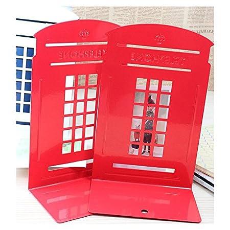 TJW Londoner Telefonzelle), robust, für Schlafzimmer, Büro oder Schule, Vintage, Metall, 2Stück, rot