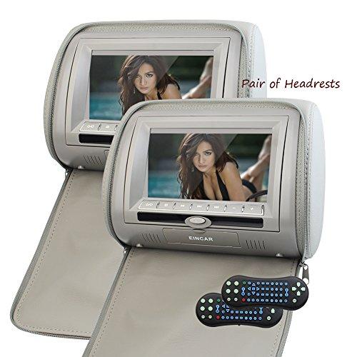 Eincar mejorada de 7 pulgadas TFT HD 1080P pantalla digital LCD par de reposacabezas de coches reproductor de DVD Frambuesa Pi monitor con puerto HDMI y soporte de control remoto de infrarrojos para auriculares Monitores coche de la almohadilla (Gary)