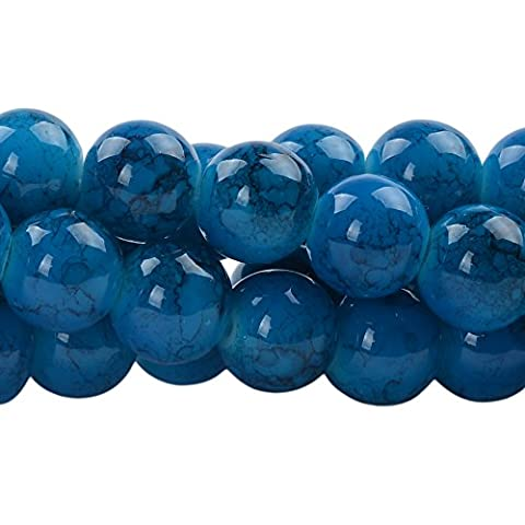 RUBYCA 8mm 2 Strands Czech Glass Round Beads Blue Painted Colored String for Jewelry Making by RUBYCA