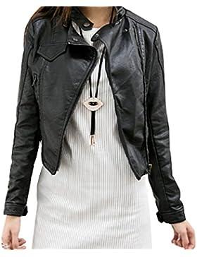 Mujer Chaquetas de PU Cuero Cremallera Cazadoras Abrigo Corto Biker Jacket - Negro / M