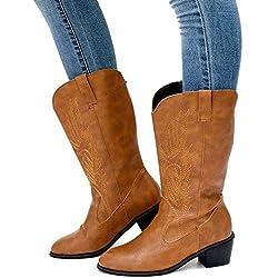 Botas Cowboy Mujer Invierno Bota Vaquera Botines Equitacion Tacon Medio 5.3CM PU Cuero Boots Comodos Vintage Marrón EU 42