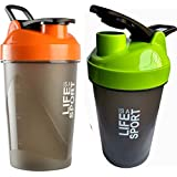 Combo Of 2 (500ml + 500ml) Green + Orange Life Is A Sport Shaker Bottle, Protein Shaker / Sipper / Gym Bottle / Water Bottle / Good Quality Shaker Bottle For Both Men's / Women's / Boy's / Girl's Pack Of 2 (500ml + 500ml) Shaker, Bottle, Sipper