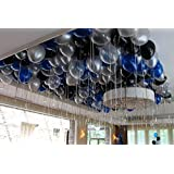 TOYXE® 40002 Toy Balloons Super Metallic for Party Decoration- Blue, Silver, Black & Clear (Pack of 50)