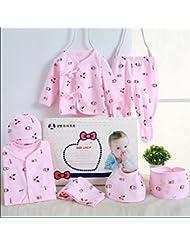 SHISHANG Caja de regalo determinada del bebé de la caja de regalo del bebé de 7 pedazos Caja de regalo recién nacida del bebé de la caja del juego del algodón del bebé conveniente para 0-3 meses Paquete del regalo de cuatro estaciones del algodón puro (100%) , snowman pink