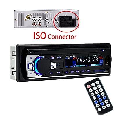 Poste Radio Voiture Autoradio1 Din USB MP3 SD Entrée AUX Bluetooth Mains Libres FM Radio avec Télécommande Compatible avec ISO (Noir) de sweetlife