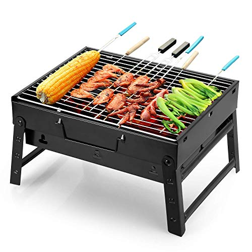 AR Mall Folding BBQ Briefcase Barbecue Grill Toaster Barbeque (Black)