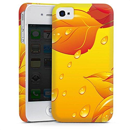Apple iPhone 4 Housse Étui Silicone Coque Protection Feuilles Gouttes de pluie Automne Cas Premium mat