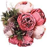 JUSTOYOU Künstliche Pfingstrose, künstliche Kunstblumen, Hochzeitssträuße, Dekoration für Zuhause, Küche, Büro, Garten, drinnen und draußen, Brautpflanzen (dunkelrosa, 1 Stück)