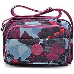 tuokener Bolso de Mujer Bandolera Bolsillos Impermeable Bolsos Pequeños Bandoleras Bolsa para Viaje Crossbody Bag Nylon Waterproof,Púrpura