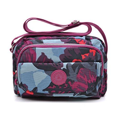 tuokener Bolsos de Mujer Nylon Hombro Bolso Bolsa Impermeable para Mujer Viajar Crossbody Bag Nylon Waterproof(púrpura)
