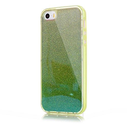 SMART LEGEND iPhone SE/5S/5 Weiche Silikon Rückseite Hülle Backcover & Hart Bumper Schutzhülle Bling Glitzer Blau Handyhülle Crystal Kirstall mit Abnehmbaren Glänzend Papier Clear Etui Ultra Slim Desi Grün
