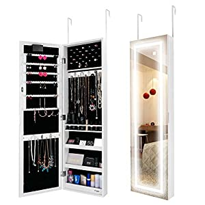 Ezigoo LED Schmuckschrank – Aufhängbarer Schmuckschrank mit rahmenlosem Spiegel