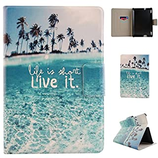 Kindle Fire HDX 7(2013) Tablet Flip Case,Asnlove Shell The Thinnest and Lightest PU Leather and Hard PC Magnetic Flip Folio Wallet Rotational Stand Back Cover For Kindle Fire HDX 7 Ultra Letters Blue Sea Coconut Tree