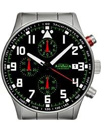 N93S - 5ATM Astroavia Reloj cronógrafo de cuarzo para hombre color negro Chronograph
