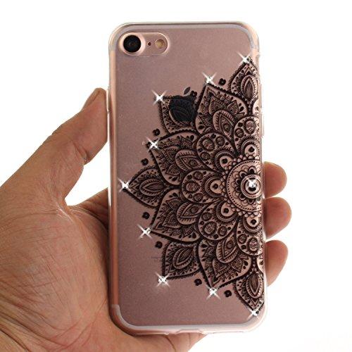 Sveglio Cassa per Apple iPhone 6/6s, CLTPY IMD Vento Nazionale Flower Dipinto Case con Glitter Diamante Ultra Sottile Morbido e Flessibile in TPU Silicone Hull per iPhone 6, iPhone 6s + 1x Stilo - Ama Fiore Nero