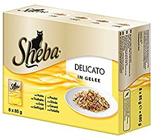 Sheba Delicato Katzenfutter Gelee Variation, 48 Beutel (6x8 x 85 g)