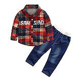 Kinder Jungen Mädchen Winter Hemden Cord Corduroy Langarm Pullover Sweatshirt T-Shirt Top + Jeans Lange Hosen Yanhoo Unisex Baby 2 Stück Bekleidungsset