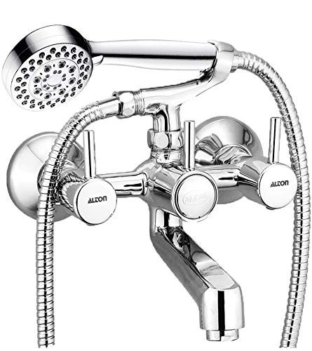 ALTON Grace 3795 Brass 2 in 1 Wall Mixer With Crutch & 3 Flow Hand Shower With 1.5 Meter Flexible Tube (Chrome)