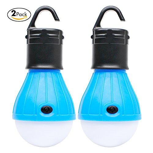 FairyDecor 2 Pack Portable LED Lantern Tent Light Bulb for Camping Hiking Fishing Emergency Light, Battery Powered Camping Equipment Gear Gadgets Lamp for Outdoor & Indoor(BLUE)