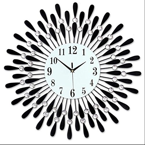 Industrielle Dekoration Wanduhr Wanduhr Uhr von lounge Custom kreative Uhren Große Stille moderne Europäische Quarz Wanduhr Uhr (Schwarz, 60 cm)