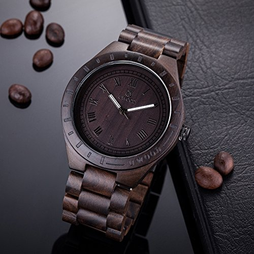 Mens Watches Ebony Wooden Watch Analogue Quartz Wrist Watches for Men | Gifts for Men