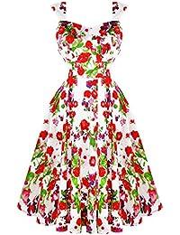Hearts & Roses London Rot Weiß Blumenmuster Rose Vintage Retro 1950s Ausgestellt Nachmittagskleid Hervorragende Qualität