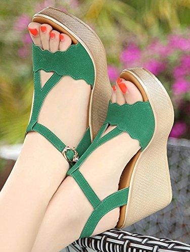Aisun Femme Mode Talon Compensé Salomé Plateforme Sandales Vert