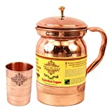 #6: Indian Art Villa Set of 1 Pure Copper Jug Pitcher with Lid - 1300 ML & 1 Copper Glass Goblet - 300 ML - Serving & Storage Water - Home, Hotel, Restaurant, Gift Item, Good Health, Ayurveda