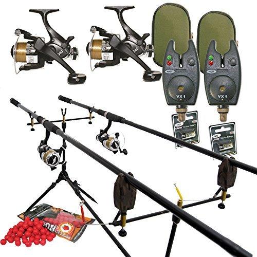 Full Carp Fishing Set Up Rods Reels Bite Alarms Rodpod PLUS 4 PACKS OF BOILIES by Carp-Corner