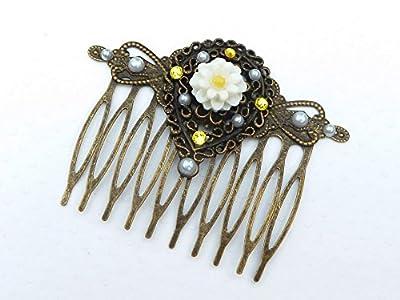 Peigne à cheveux de fleurs dans le style vintage en bronze jaune blanc