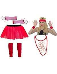 Red Tutu set with Skirt, Legwarmers, Gloves, Sweatbands, Necklace & Gummies Size 8 to 20