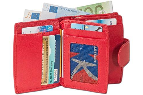 """Wallet """"Platino"""" delle donne di lusso compatti con un sacco di scomparti per le carte di credito con i migliori, di pelle trattata Rosso"""