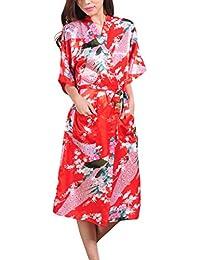 Waymoda - Bata de satén para mujer, diseño pavo real y flores, estilo Kimono largo