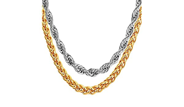 ba15ba4da21c07 Meenaz Men Jewellery Valentine Gold Rope Chain 2 Pcs Combo Necklace for Men  Husband Boys Boyfriend Gents Mens Chains for Pendants -CN9159: Amazon.in:  ...