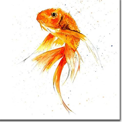Goldfish-Innen blanko,-Aquarell-Geburtstag-Wasser, Fisch - Skinny Wasser