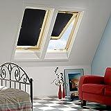 KINLO Dachfensterrollo 60 x 93cm Schwarz Thermo Sonnenschutz Verdunkelungsrollo für Velux Dachfenster UV Schutz mit Saugnäpfe ohne Bohren