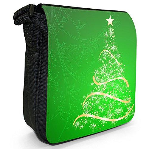 Gorgeous Oro Stella Albero di Natale piccolo nero Tela Borsa a tracolla, taglia S Green Stunning Christmas Tree