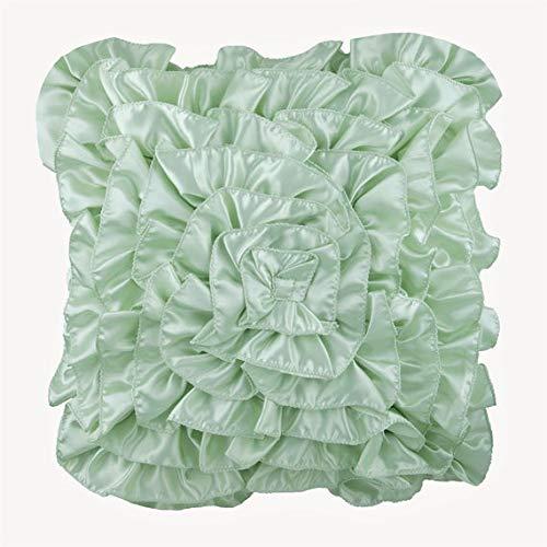 The HomeCentric Minzgrün Euro-Schein, 65x65 cm Euro-Schein, Vintage Style Rüschen Euro Kissen Shams, Satin Euro-Schein-Abdeckungen, Solide Zeitgenössisch Euro Shams - Mint Green Ruffles -