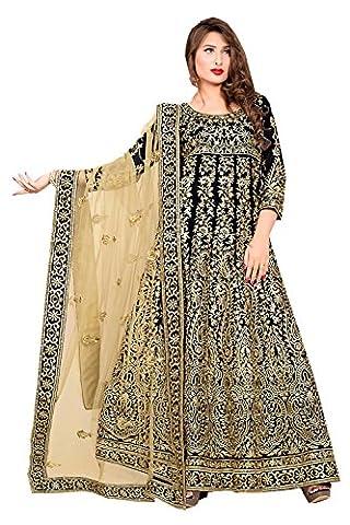 Da Facioun Anarkali Style Incredible Salwar Kameez in Black & Silk Fabric 72029