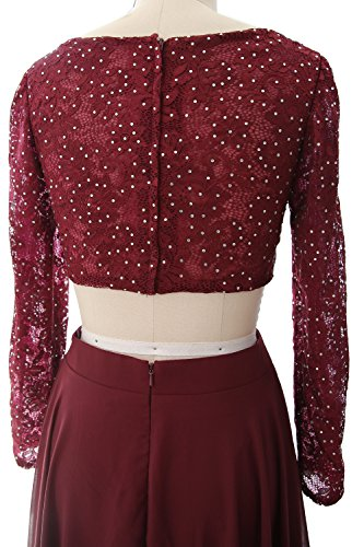 MACloth Gorgeous 2 Piece Long Sleeve Prom Dress Lace Chiffon Formal Evening Gown Burgundy