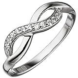 JOBO Damen Ring Unendlich 925 Sterling Silber mit Zirkonia Silberring Größe 62