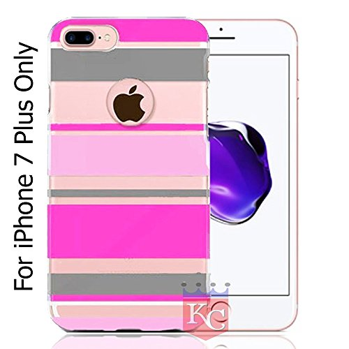 KC Beautiful Stripes Lines Design Soft Case cover For iPhone 7 Plus - Pink