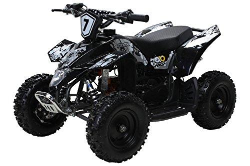 Actionbikes Motors Kinder Miniquad Fox XTR 49 cc - Scheibenbremsen - Luftbereifung - Drosselbar (Schwarz/Grau)