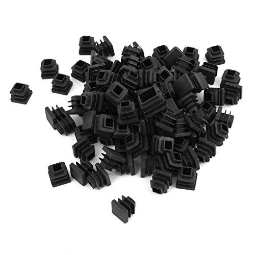 Sourcingmap 100 pcs Noir Obturation Fin Tube Caps Inserts Bouchon carré 15 mm x 15 mm