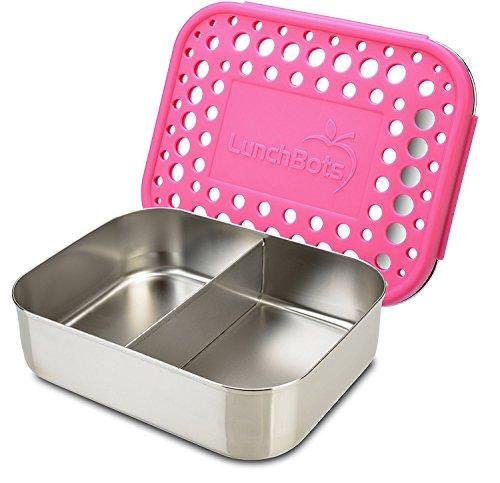 LunchBots Duo Récipient alimentaire en acier inox – Conception à 2 compartiments, parfaite pour un demi sandwich et un accompagnement ou pour des en-cas – Écoresponsable, compatible avec le lave-vaisselle et sans BPA - Rose
