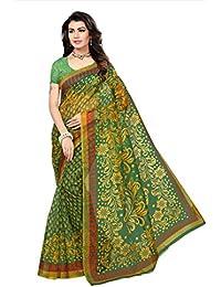 Indian Fashionista Women's Kota Dorie Printed Saree with Blouse Piece, Free Size (Green, NM-KOTADORIE-KD11)